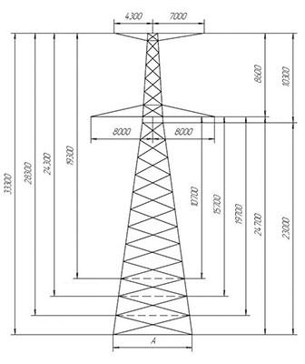 Унифицированные анкерно-угловые металлические опоры ЛЭП 110 кВ, 220 кВ, 330 кВ, 500 кВ, 750 кВ