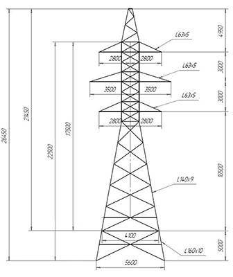 Унифицированные анкерно-угловые металлические опоры ЛЭП 35 кВ типа У 35