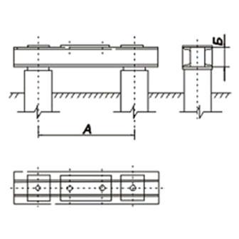 Под свободностоящие промежуточные металлические опоры, закрепляемые двумя болтами