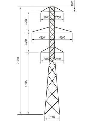 Унифицированные промежуточные металлические опоры ЛЭП 35 кВ типа П 35, ПС 35